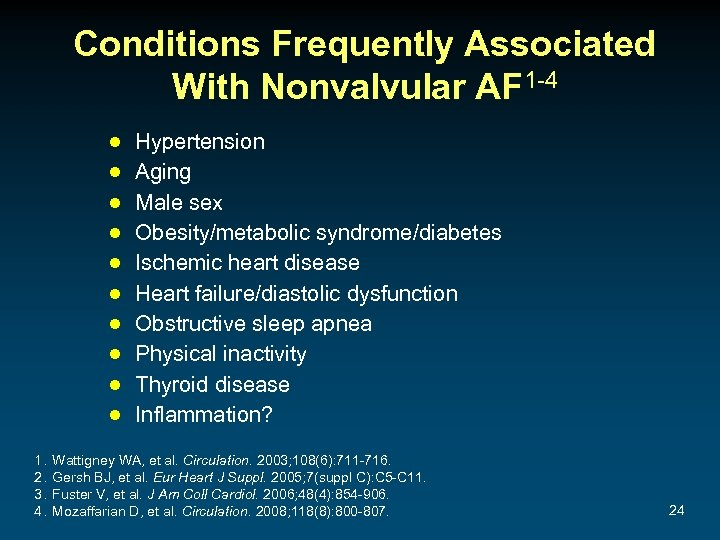 Conditions Frequently Associated With Nonvalvular AF 1 -4 ● ● ● ● ● 1.