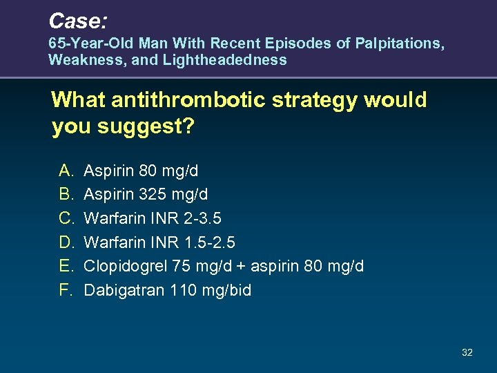 Case: 65 -Year-Old Man With Recent Episodes of Palpitations, Weakness, and Lightheadedness What antithrombotic
