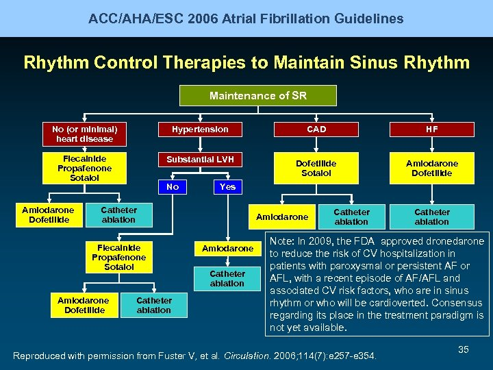 ACC/AHA/ESC 2006 Atrial Fibrillation Guidelines Rhythm Control Therapies to Maintain Sinus Rhythm Maintenance of