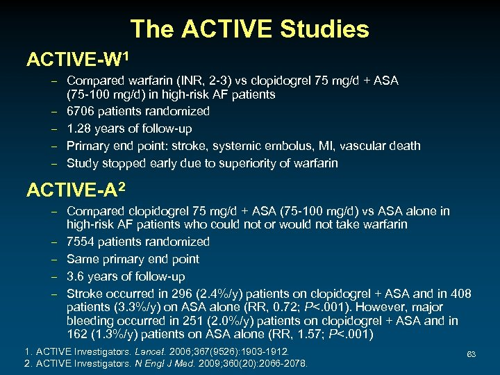 The ACTIVE Studies ACTIVE-W 1 – Compared warfarin (INR, 2 -3) vs clopidogrel 75