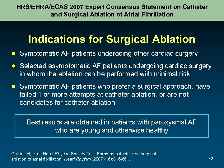 HRS/EHRA/ECAS 2007 Expert Consensus Statement on Catheter and Surgical Ablation of Atrial Fibrillation Indications