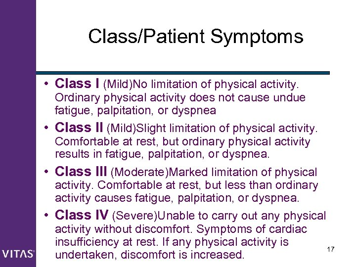 Class/Patient Symptoms • Class I (Mild)No limitation of physical activity. Ordinary physical activity does