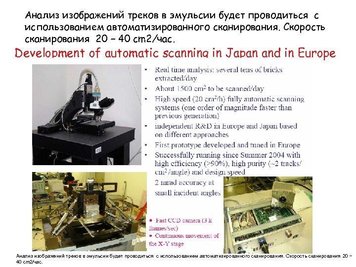 Анализ изображений треков в эмульсии будет проводиться с использованием автоматизированного сканирования. Скорость сканирования 20