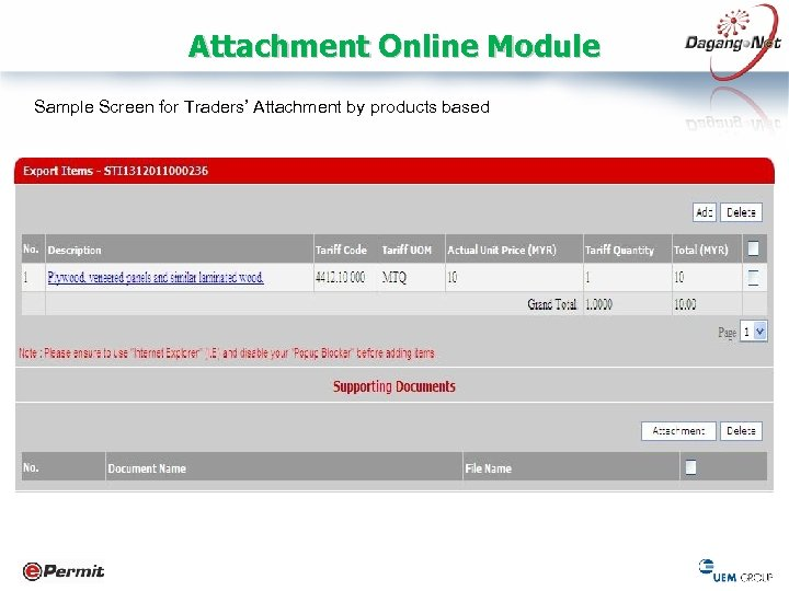 Attachment Online Module Sample Screen for Traders' Attachment by products based