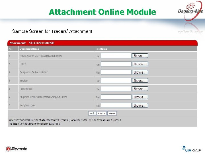 Attachment Online Module Sample Screen for Traders' Attachment