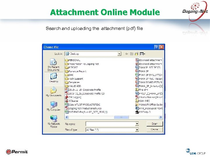 Attachment Online Module Search and uploading the attachment (pdf) file