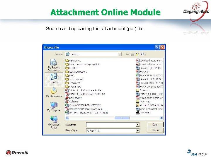 Attachment Online Module Search and uploading the attachment (pdf) file