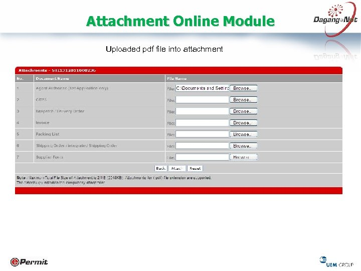 Attachment Online Module Uploaded pdf file into attachment