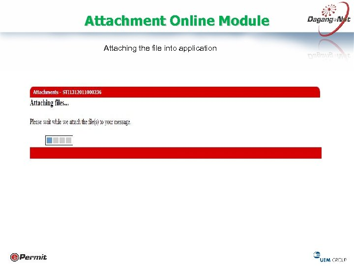 Attachment Online Module Attaching the file into application