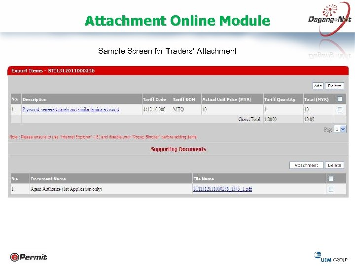 Attachment Online Module Sample Screen for Traders' Attachment