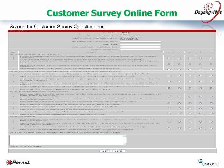 Customer Survey Online Form Screen for Customer Survey Questionaires