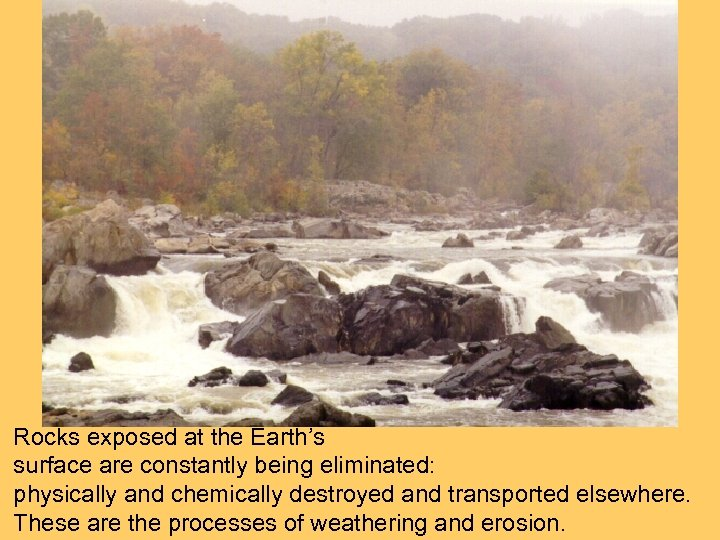Rocks exposed at the Earth's surface are constantly being eliminated: physically and chemically destroyed