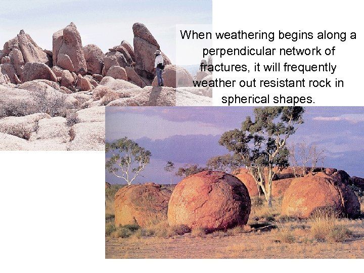 When weathering begins along a perpendicular network of fractures, it will frequently weather out