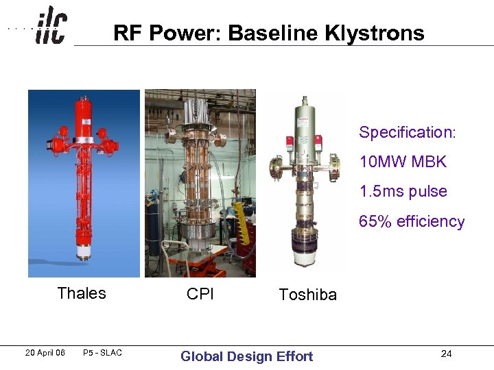RF Power: Baseline Klystrons Specification: 10 MW MBK 1. 5 ms pulse 65% efficiency