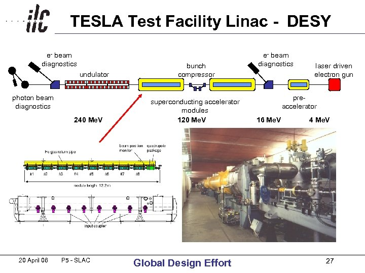 TESLA Test Facility Linac - DESY e- beam diagnostics undulator photon beam diagnostics 240