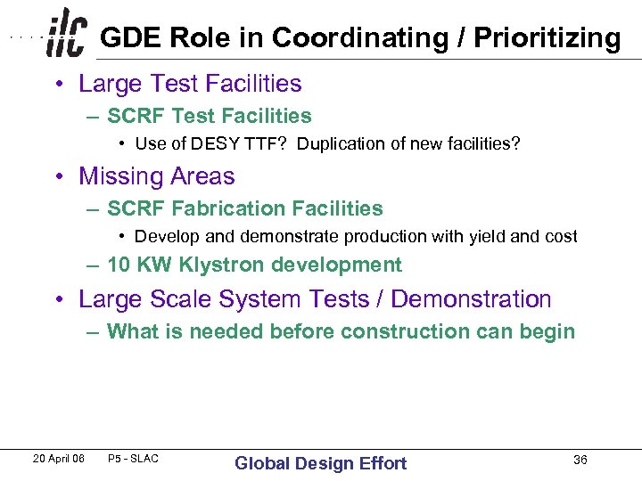 GDE Role in Coordinating / Prioritizing • Large Test Facilities – SCRF Test Facilities