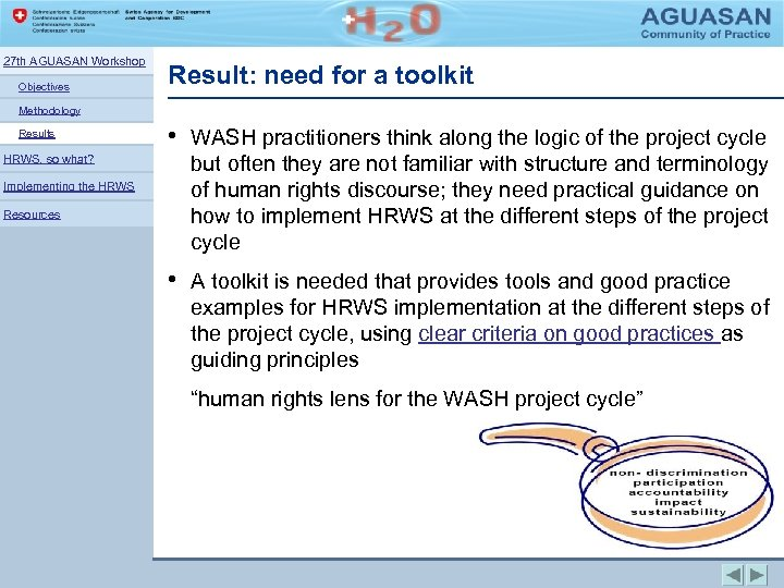 27 th AGUASAN Workshop Objectives Result: need for a toolkit Methodology Results HRWS, so
