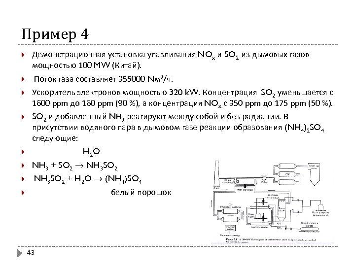 Пример 4 Демонстрационная установка улавливания NOx и SO 2 из дымовых газов мощностью 100