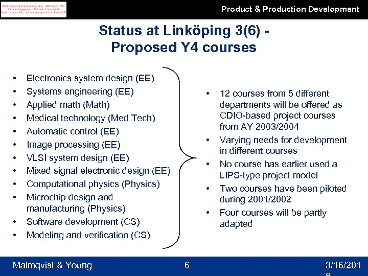 Product & Production Development Status at Linköping 3(6) Proposed Y 4 courses • •