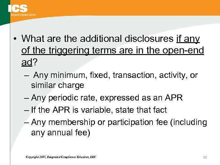 • What are the additional disclosures if any of the triggering terms are