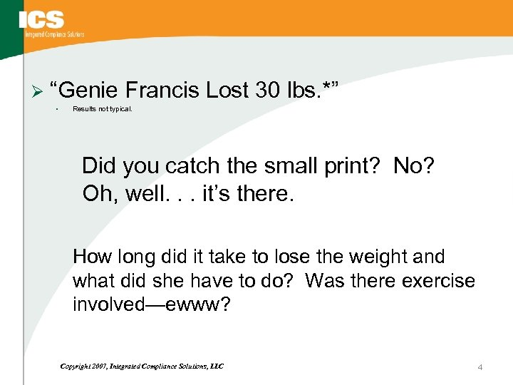 "Ø ""Genie Francis Lost 30 lbs. *"" • Results not typical. Did you catch"