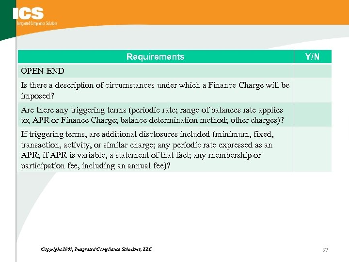 Requirements Y/N OPEN-END Is there a description of circumstances under which a Finance Charge