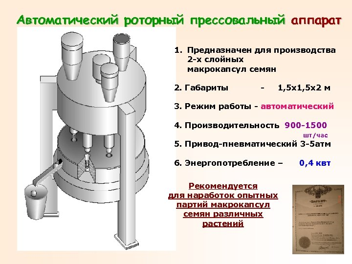 Автоматический роторный прессовальный аппарат 1. Предназначен для производства 2 -х слойных макрокапсул семян 2.