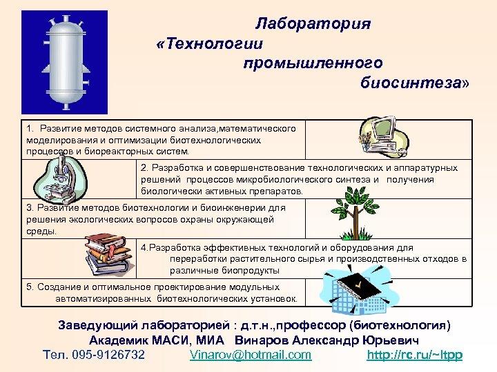 Лаборатория «Технологии промышленного биосинтеза» 1. Развитие методов системного анализа, математического моделирования и оптимизации биотехнологических