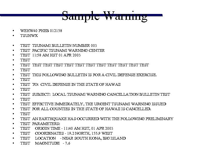 Sample Warning • • WEHW 40 PHEB 012158 TSUHWX • • • • •