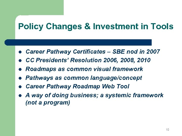 Policy Changes & Investment in Tools l l l Career Pathway Certificates – SBE