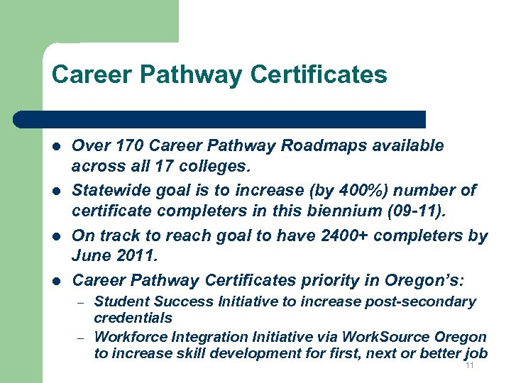 Career Pathway Certificates l l Over 170 Career Pathway Roadmaps available across all 17