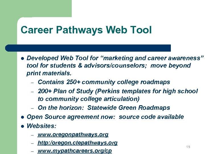"Career Pathways Web Tool l Developed Web Tool for ""marketing and career awareness"" tool"