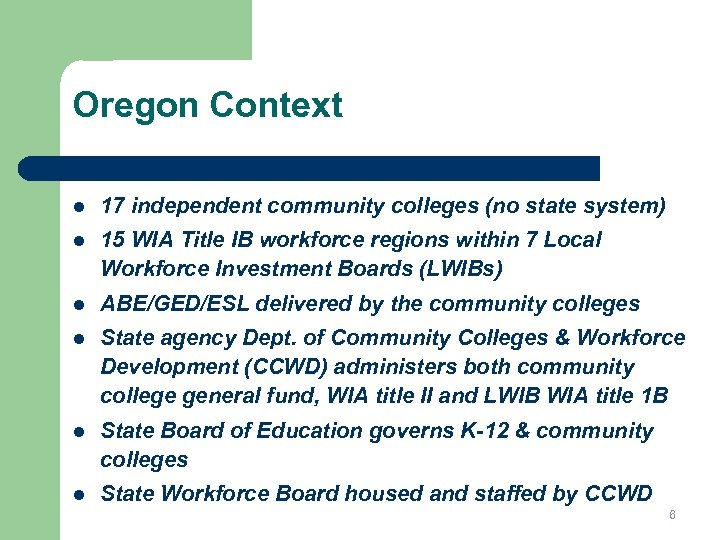 Oregon Context l 17 independent community colleges (no state system) l 15 WIA Title