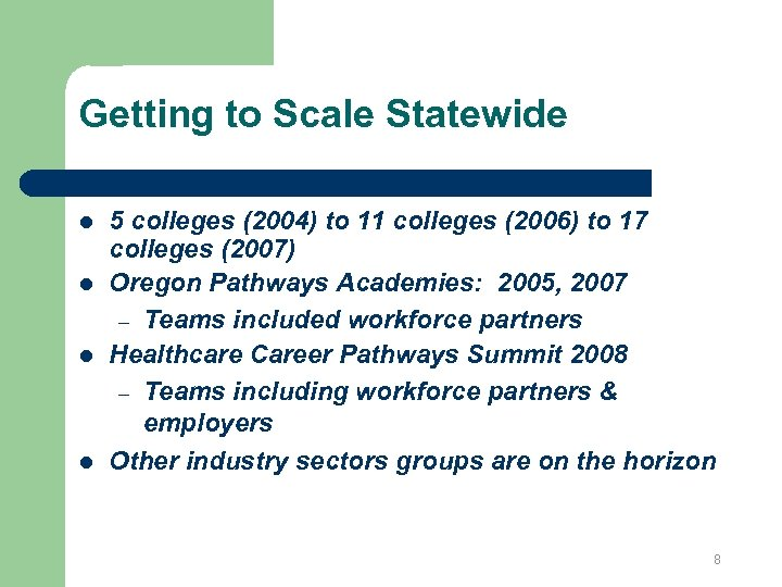 Getting to Scale Statewide l l 5 colleges (2004) to 11 colleges (2006) to