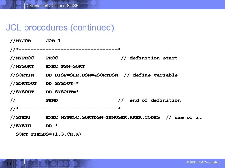 Chapter 06 JCL and SDSF JCL procedures (continued) //MYJOB 1 //*-----------------* //MYPROC //MYSORT EXEC