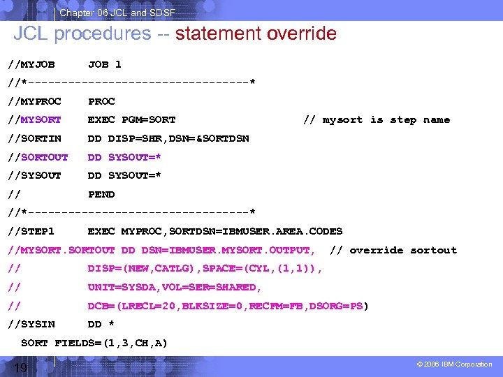 Chapter 06 JCL and SDSF JCL procedures -- statement override //MYJOB 1 //*-----------------* //MYPROC