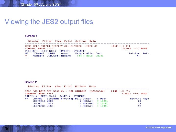 Chapter 06 JCL and SDSF Viewing the JES 2 output files 30 © 2006