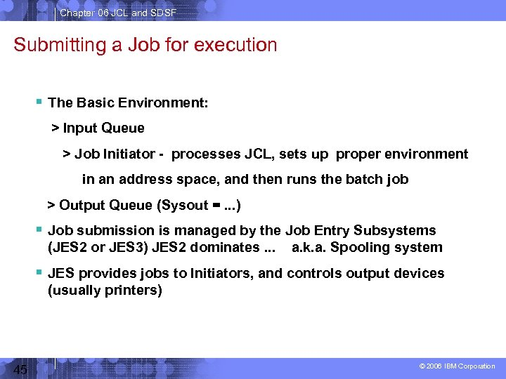 Chapter 06 JCL and SDSF Submitting a Job for execution The Basic Environment: >