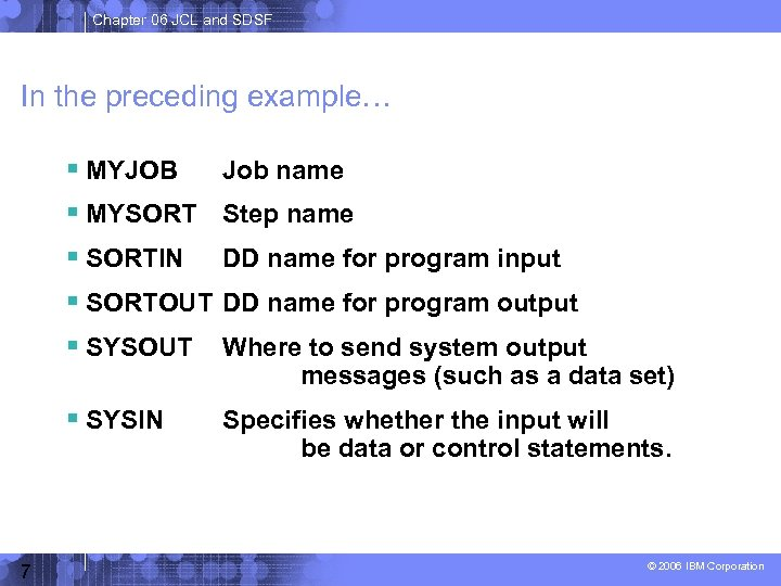 Chapter 06 JCL and SDSF In the preceding example… MYJOB Job name MYSORT Step