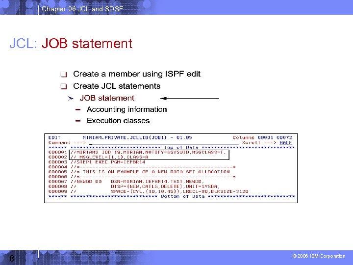Chapter 06 JCL and SDSF JCL: JOB statement 8 © 2006 IBM Corporation