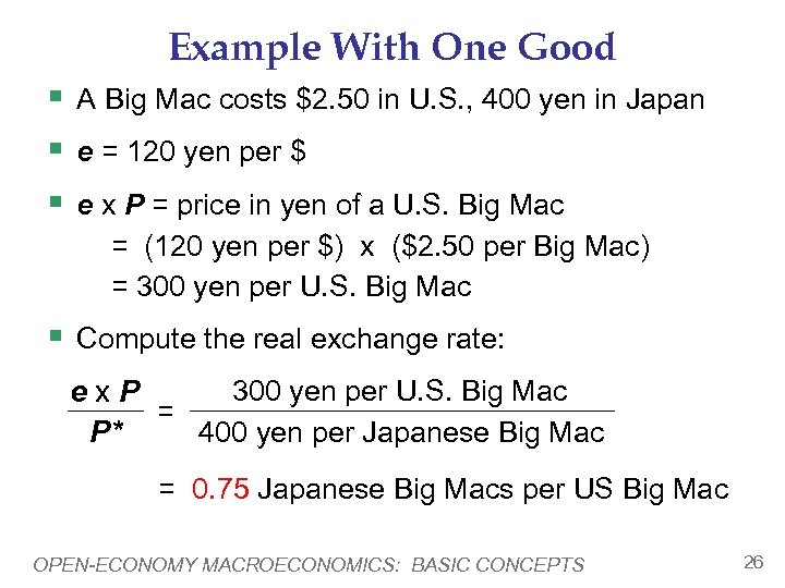 Example With One Good § A Big Mac costs $2. 50 in U. S.