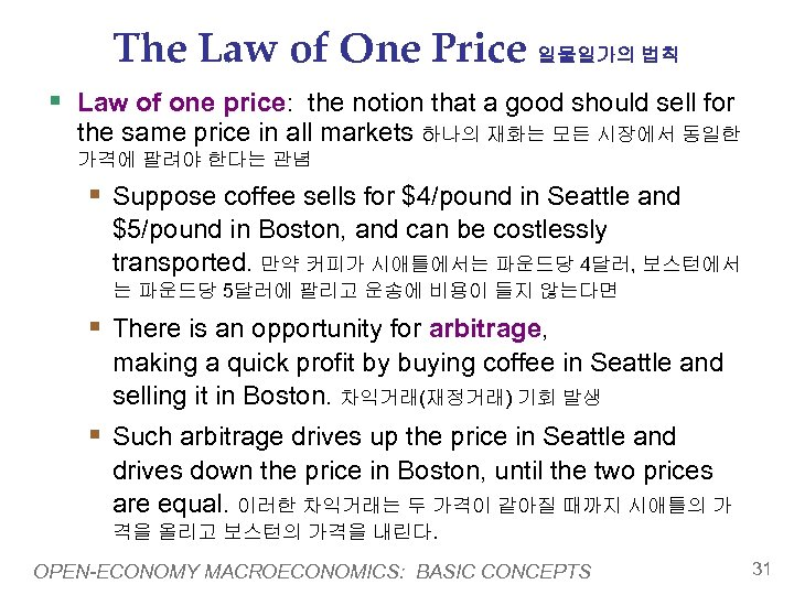 The Law of One Price 일물일가의 법칙 § Law of one price: the notion
