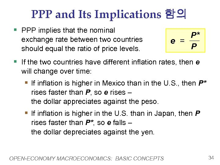 PPP and Its Implications 함의 § PPP implies that the nominal exchange rate between