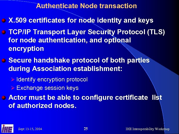 Authenticate Node transaction X. 509 certificates for node identity and keys TCP/IP Transport Layer