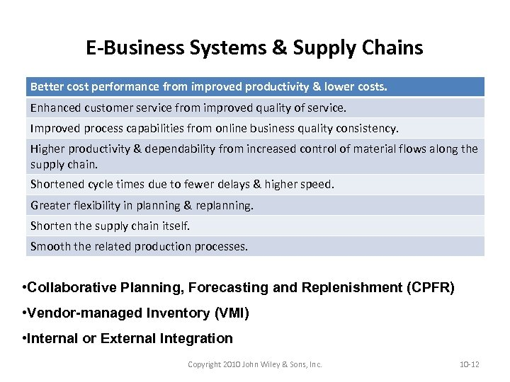 E-Business Systems & Supply Chains Better cost performance from improved productivity & lower costs.