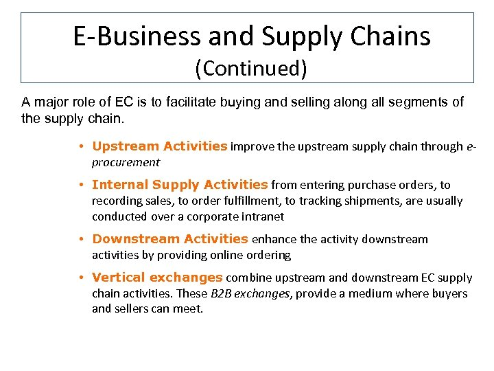 E-Business and Supply Chains (Continued) A major role of EC is to facilitate buying