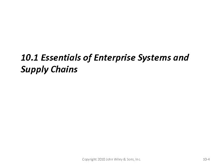 10. 1 Essentials of Enterprise Systems and Supply Chains Copyright 2010 John Wiley &