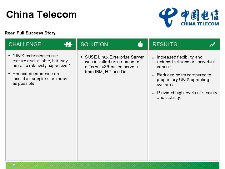"""China Telecom Read Full Success Story • """"UNIX technologies are mature and reliable, but"""