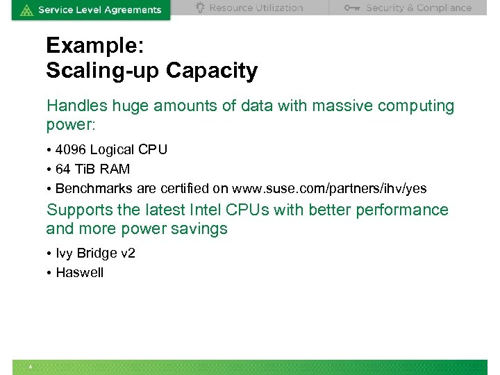 Example: Scaling-up Capacity Handles huge amounts of data with massive computing power: • 4096
