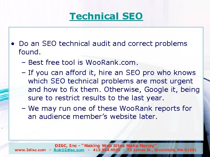 Technical SEO • Do an SEO technical audit and correct problems found. – Best